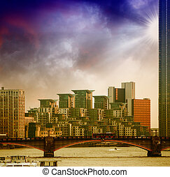St George Wharf Buildings and Lambeth Bridge in London.
