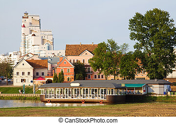 Minsk downtown across Svisloch river, Belarus - Old downtown...