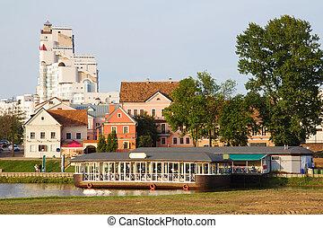 Minsk downtown across Svisloch river, Belarus - Old downtown...