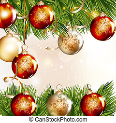 Christmas background with baubles and fir branches - Cute...