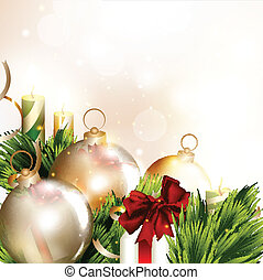 Christmas background with baubles - Vector card with...