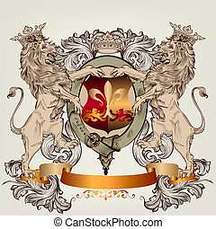 Design with heraldic elements and lions in vintage style -...