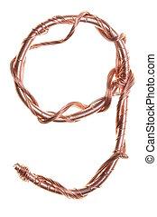 Copper shape of a number nine