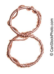 Copper shape of a number eight