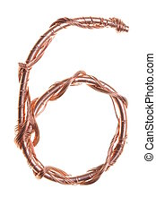 Copper shape of a number six