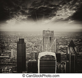 London. Stunning aerial view of modern financial district...
