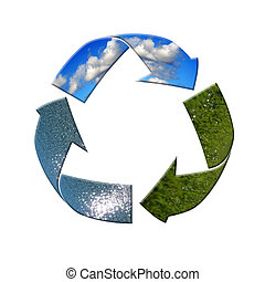 recycle please - Recycle symbol with green field, rain and...