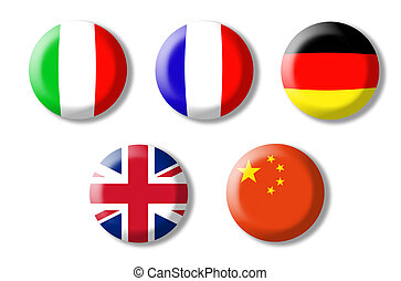foreign language - three-dimensional buttons with flags of...