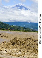 Mount Fuji with Muddy River - Mount Fuji with a muddy river...