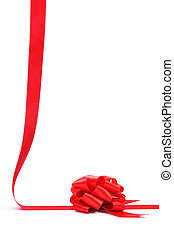 ribbon bow - a red ribbon with a bow on a white background...