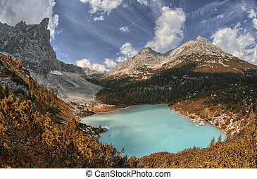 Lago di Sorapiss - Beautiful color of the mountain lake -...