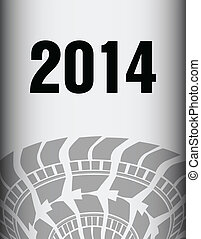 road tire track with special design, 2014 background