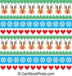 Christmas pattern with reindeer - Winter red and green...
