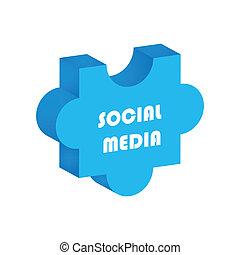 social media concept, 3d puzzle design