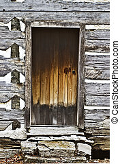 Door of a pre-civil war log cabin.