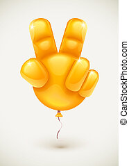 Balloon as hand showing victory symbol