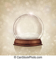 Snow globe on a golden background