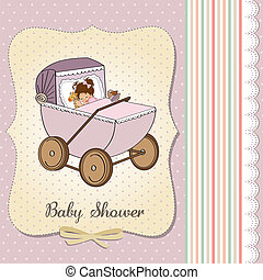 baby girl shower card with retro strolller, vector...