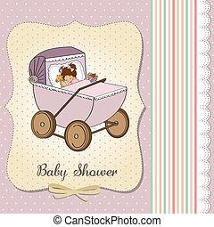 baby girl shower card with retro strolller, vector...