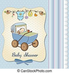 baby boy shower card with retro strolller, vector...