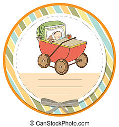 baby boy shower card with retro strolller, vector...