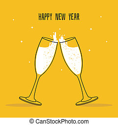 Two Glasses of champagne - Vector illustration of Two...