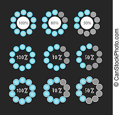 blue preloaders and progress loading bars vector...
