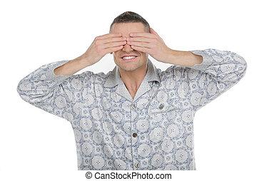 hombre, ropa, ojos, alegre, joven, hombre, pijama, ropa, el...