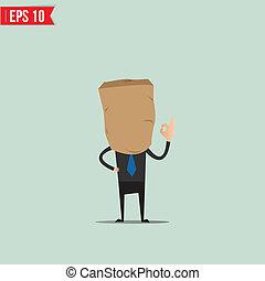 Cartoon Business man with clock face - Vector illustration -...