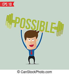 Business man lifting barbell for business concept - Vector...