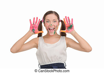 Happy teenage girl Excited young woman with pigtails showing...