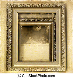 Picture frames and antiques to vintage background