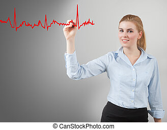 woman drawing hearth graph - business woman hand drawing...