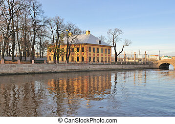 St. Petersburg. River Fontanka Embankment with historic...