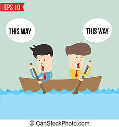 Cartoon business man rowing a boat - Vector illustration -...