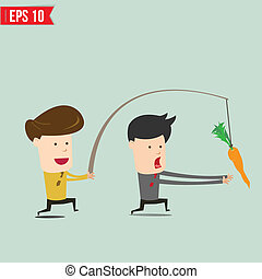 Cartoon Business man trying to reach a carrot - Vector...