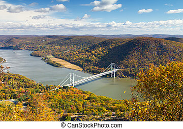 Bridge Over the Hudson River Valley in Fall - Bridge over...