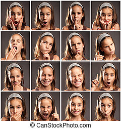 collection of little girl portraits with diferent...