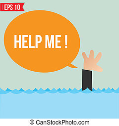 Cartoon business man shouting for help - Vector illustration...