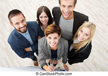 Group of business people from above - Group of five diverse...