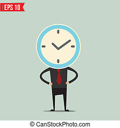Cartoon Business man with clock face - Vector illustration -...