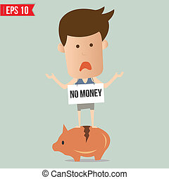 Business man no money  - Vector illustration - EPS10