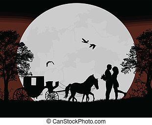 Carriage and lovers at night on beautiful landscape, vector...