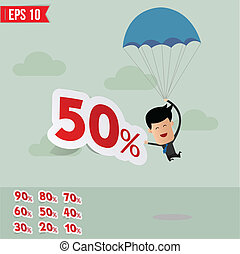 Business man with parachute percent tag - Vector illustration - EPS10