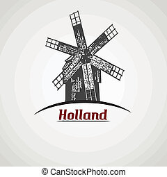 Holland poster - Holland in vitage style poster with...