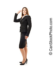 welcome - picture of happy successful businesswoman over...