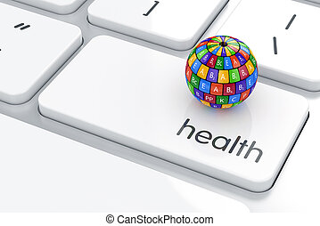 Health life concept - 3d render of vitamin sphere icon on...
