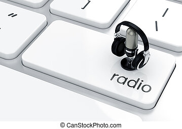 Radio concept - 3d render of microphone with headphones icon...