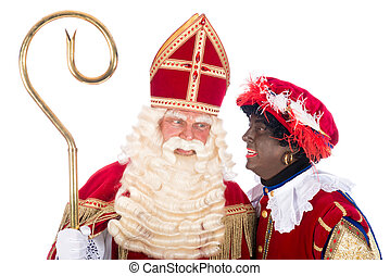 Sinterklaas with Zwarte Piet - Zwarte Piet is whispering...