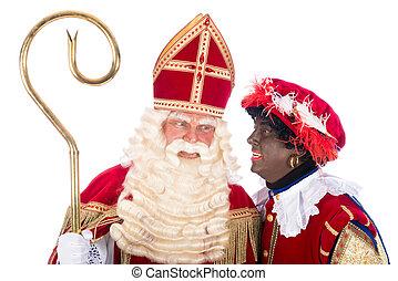 Sinterklaas with Zwarte Piet - Zwarte Piet is whispering...
